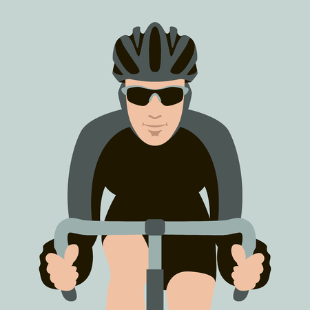 bicyclist  face vector illustration flat style front view