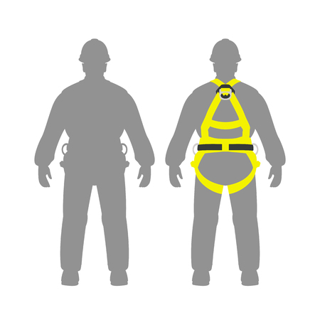 climbing safety belt   man set vector illustration flat style