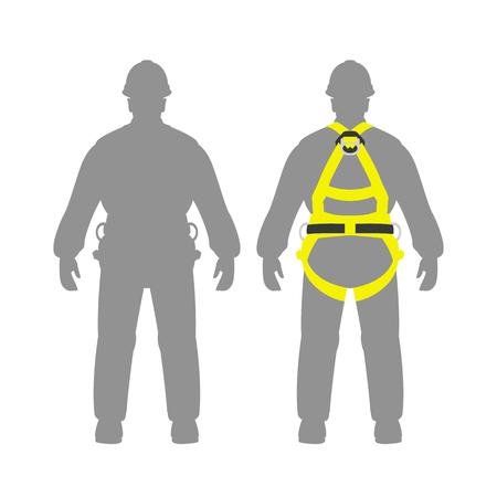 climbing safety belt   man set vector illustration flat style