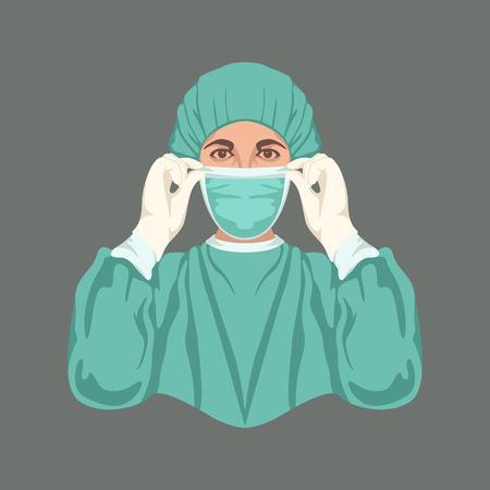 medical sister vector illustration flat style front view