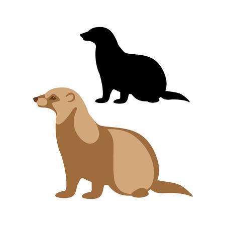 ferret  black silhouettevector illustration flat style profile side