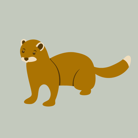 Mink brown vector illustration flat style front side.