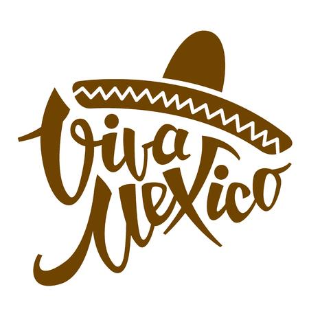 viva mexico phrase stylized vector illustration flat style Vettoriali