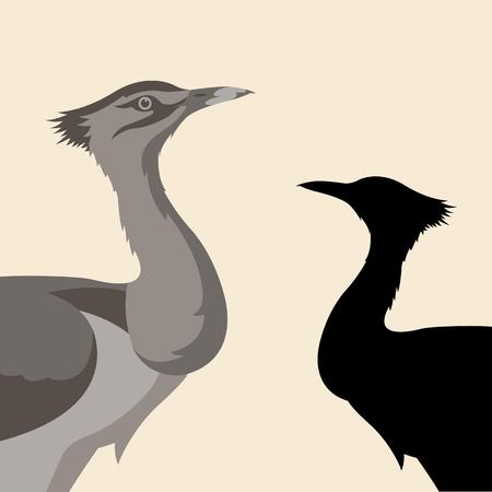 trap vogel vector illustratie vlakke stijl zwart silhouet set