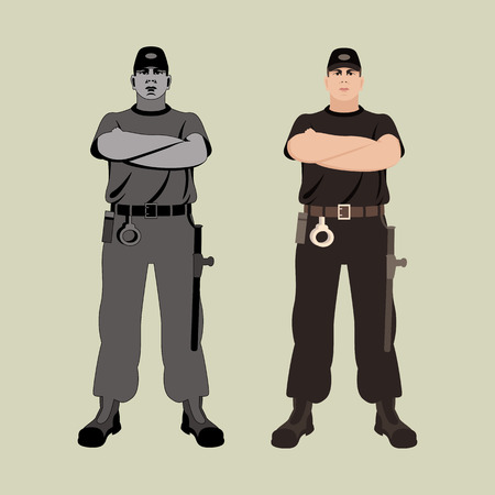 Young man guard vector illustration flat style front view