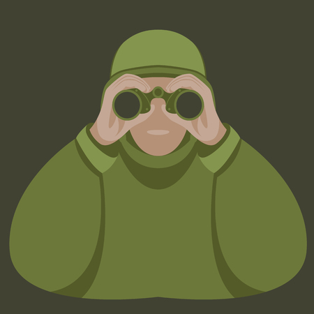 Soldier with binoculars vector illustration flat style front view