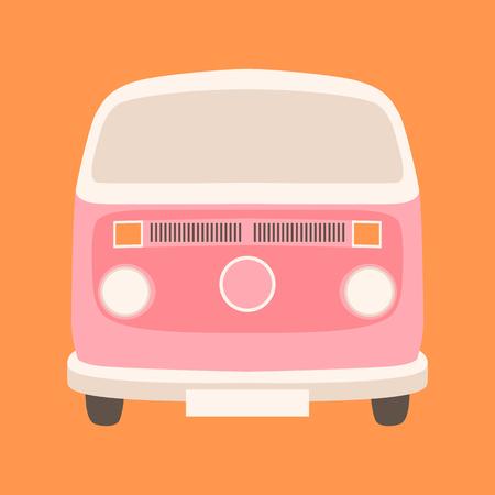 Pink minibus vector illustration flat style  front view 일러스트