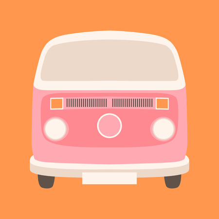 Pink minibus vector illustration flat style  front view 向量圖像