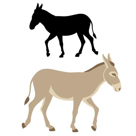Donkey silhouette vector illustration flat style profile side 向量圖像