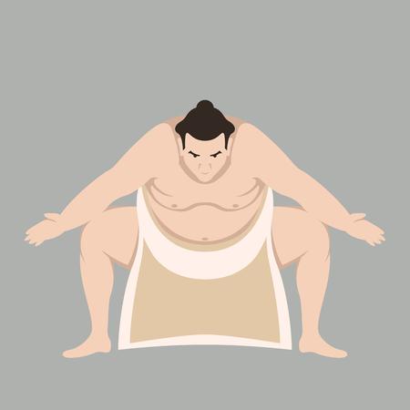 Sumo wrestler men vector illustration flat style front view Vettoriali