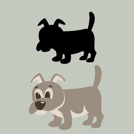 dog cartoon vector illustration flat style black silhouette