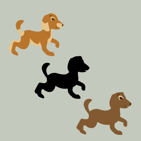 dog cartoon vector illustration flat style black silhouette
