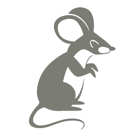 mouse  cartoon vector illustration flat style   profile side