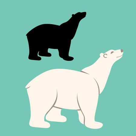 polar bear  cartoon vector illustration flat style black silhouette