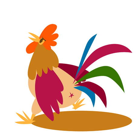 rooster  cartoon vector illustration flat style   profile side Illustration