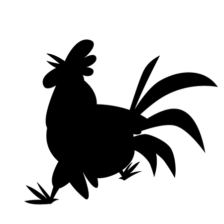 rooster  cartoon vector illustration  black silhouette    profile side