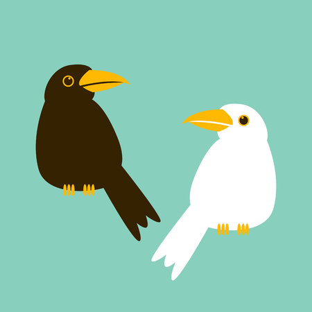 crow  cartoon vector illustration flat style  white crow Illustration