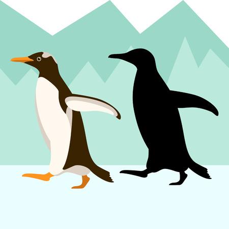 penguin vector illustration flat style black silhouette profile side