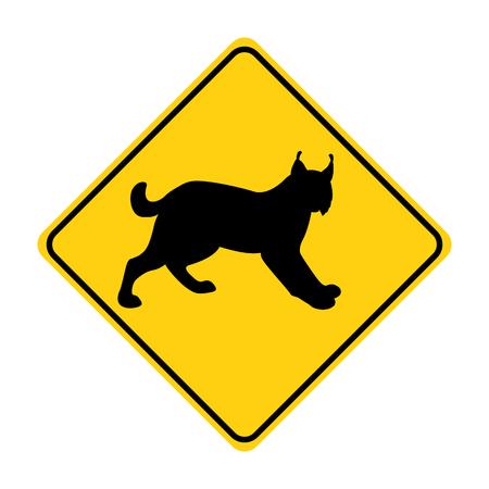 lynx silhouette animal traffic sign yellow  vector illustration
