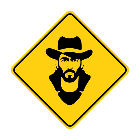 hipster face silhouette  traffic sign yellow  vector illustration Illustration