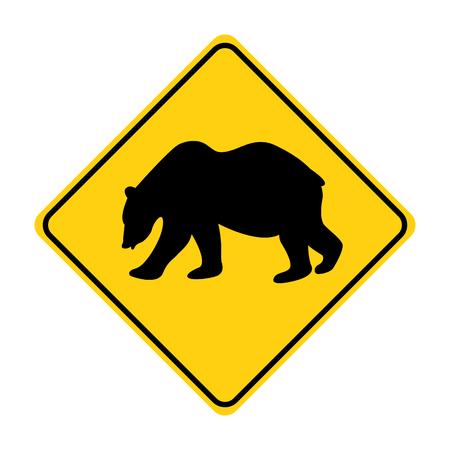 bear silhouette animal traffic sign yellow  vector illustration Illustration
