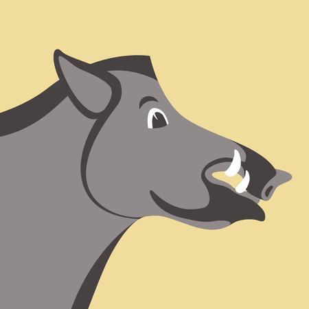 Boar wild head vector illustration flat style profile side