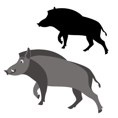Cartoon boar wild vector illustration flat style black silhouette