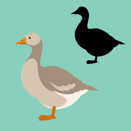 Goose vector illustration. Flat style silhouette, black profile side.