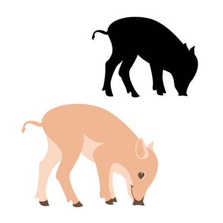 Pig vector illustration. Flat style silhouette, black profile. Illustration