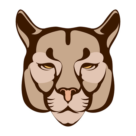 Tiger face vector illustration flat style front side Illustration