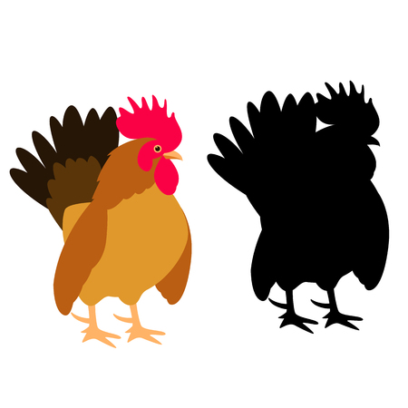rooster   vector illustration flat style    profile side black silhouette