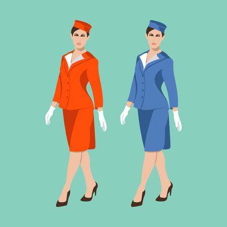 Stewardess women vector illustration flat style front view
