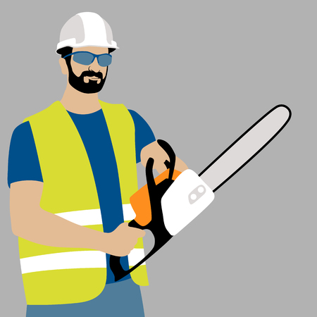 Chainsaw Worker vector illustration flat style front side.