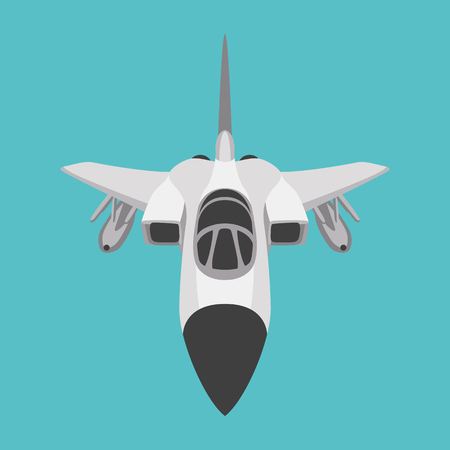 Fighter jet plane vector illustration flat style front side