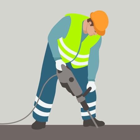 Worker drilling in helmet vector illustration flat style profile side