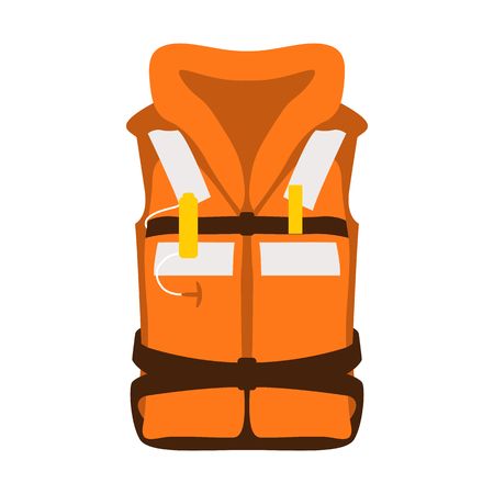 Life jacket vector illustration flat style front side