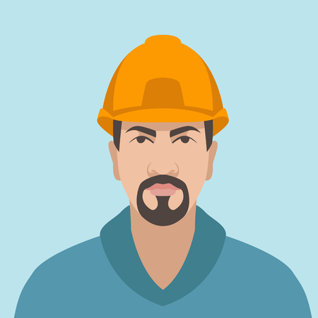 Worker in hard hat  vector illustration flat style front side