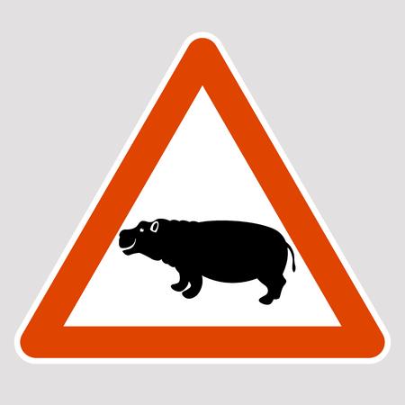 Hippo black silhouette road sign vector illustration profile