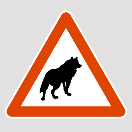 A wolf black silhouette road sign vector illustration profile Vectores