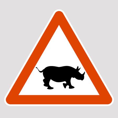A rhino black silhouette road sign vector illustration profile