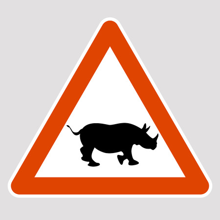 A rhino black silhouette road sign vector illustration profile