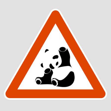 A panda black silhouette road sign vector illustration profile