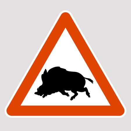 A boar black silhouette road sign vector illustration profile Illustration