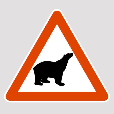 クマの黒いシルエット道路標識ベクトルイラストプロファイル 写真素材 - 96681231