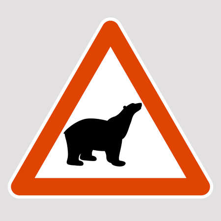 A bear black silhouette road sign vector illustration profile