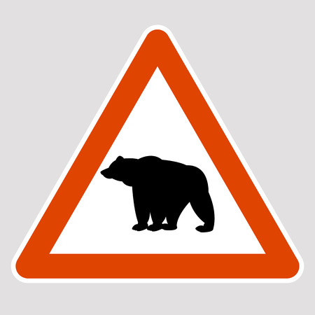 A bear black silhouette road sign vector illustration profile