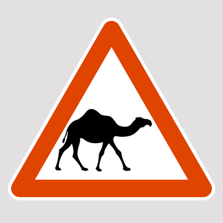 A camel black silhouette road sign vector illustration profile