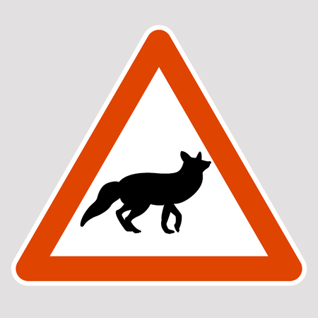 A fox black silhouette road sign vector illustration profile