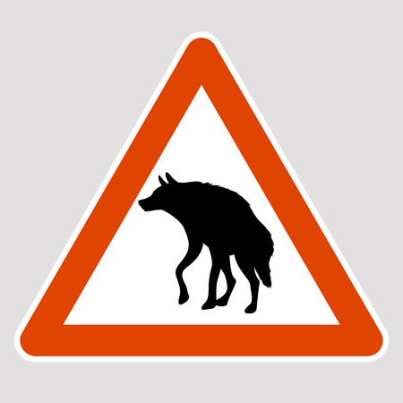 A hyena black silhouette road sign vector illustration profile