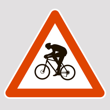 A bicyclist black silhouette road sign vector illustration profile